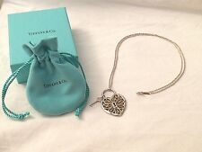 TIFFANY & CO Silver 18K Gold Large Filigree Heart Key Necklace Pendant