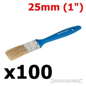 """100 x 25mm DISPOSABLE PAINT BRUSHES 1"""" DECOR DECORATING WALLPAPER PAINTING BRUSH"""