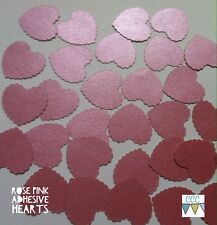 50 adhesive Pink pearlescent heart shaped stickers envelope seal embellishment