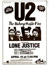 U2 rare 1985 full page concert print ad, New Jersey, Meadowlands w/ LONE JUSTICE