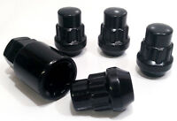Set of 4 x Black alloy wheel Locking Locks nuts bolts. M12 x 1.5, 21mm Hex Taper