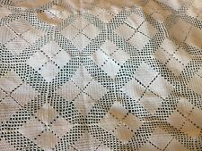 Vintage French Hand Crochet Table Cloth Bedspread White Argyle 80� X 80� Mint