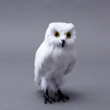 ZILIN White Simulated Owl Model Real Feathered Owl Vivid and Lovely