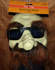 Furry Face Mask - Brown eyebrows mustache glasses adult one size - HALLOWEEN NWT