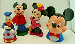Lot of 4 Vintage Disney Banks Mickey Mouse, Minnie Mouse, Donald Duck