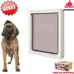 Extra Large Dog Pet Door XL Flap 366 x 441 mm 2 Way White Gate Lockable Entrance