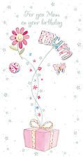 """Mamá Tarjeta Cumpleaños acabado a mano """"Diseño Floral"""" tamaño 22.9cm x 12.1cm"""