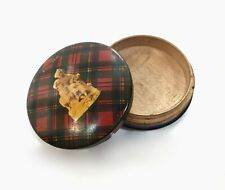 Antique Mauchline Ware Tartan Circular Lidded Box / Stamp Holder Prince Charlie