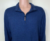 Smartwool Mens MERINO WOOL BLEND Mock Neck 1/4 Zip Pullover Blue Sweater Sz XL