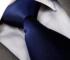 NAVY BLUE FINE RIB SILK TIE (& HANKY) - ITALIAN DESIGNER Milano Exclusive