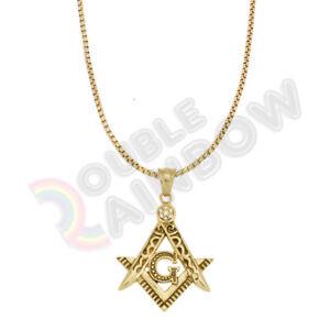 Masonic Freemason Mason Men Stainless Steel Pendant Necklace 3mm Box Chain*P75