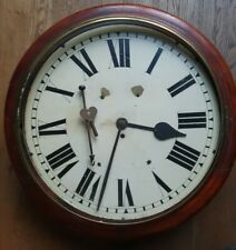 More details for antique large size 18-inch english mid victorian mahogany double dial wall clock