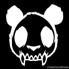 "Skull Zombie Panda Evil Mad Dead Goth Vinyl Decal Car Sticker 4.63"" x 5"" White"