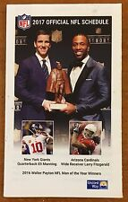 ELI MANNING / LARRY FITZGERALD, OFFICIAL NFL 2017 SEASON SCHEDULE, COOL !