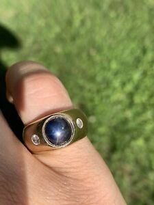dragons breath star sapphire gold mens ring size 11
