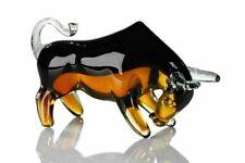 Luxury Murano Sommerso Art Glass Multi Coloured Bull Sculpture