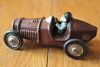 Cast iron Roadster hot rod car Vintage car toy Maroon color driver man