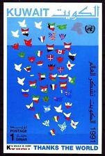 Kuwait 1991 ** Bl.2 Flaggen Flags Map Friedenstaube Dove of peace