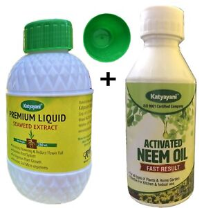 Seaweed Extract Liquid Fertilizer for Plants with Activated Neem Oil Combo