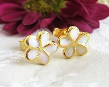 Opal Blüten Ohrstecker 925 Sterling Silber Gold Vergoldet Ohrringe Blume Weiß