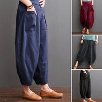 ZANZEA Femme Pantalon Simple Casual en vrac Coton Taille Jambes larges Plus