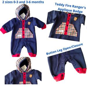 Baby Boy Hood Pramsuit Sleepsuit Nursery Time NB, 0 - 3 & 3 -6 m Fire Rangers