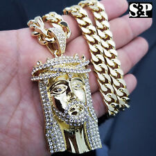 "Mens Hip Hop Iced Out 14K Gold Plated Big Jesus Pendant W/ 10mm 30"" Cuban Chain"