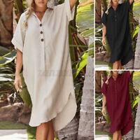 Damen Kurzarm Kleid Hemdkleid Kragen Sommer Linen Freizeit Oversize Strandkleid