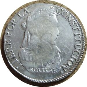 elf Bolivia 4 Soles 1830  PTS JL  Silver Llama Second mintmark on island