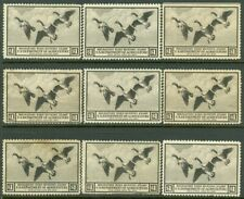 EDW1949SELL : USA 1936 Scott #RW3 Mint No Gum 9 stamps. Small faults Retail
