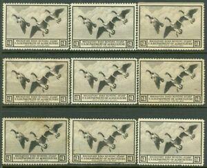 EDW1949SELL : USA 1936 Scott #RW3 Mint No Gum 9 stamps. Small faults Retail