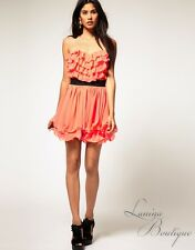 LIPSY By ASOS Camelia Coral Ruffle Bust Prom Dress Sz AU 14 / US 10 Party Races