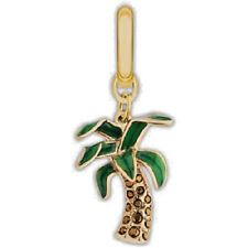 Authentic SWAROVSKI Palm Tree Charm Enamel Crystal Gold Plated NEW n BOX was $48