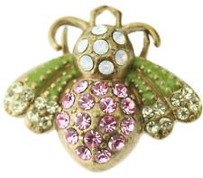 £30 Gold Pink Green Butterfly Bug Adjustable Ring Swarovski Elements Crystal