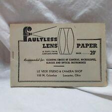 Vintage Faultless Lens Paper, Camera Ephemera, Lancaster OH Advertising