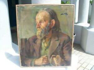 Vintage Oil on Canvas Old Man Art Painting Artist Signed
