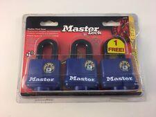"MASTER LOCK 312TRI PACK 3 LAMINATED STEEL KEYED PADLOCK 3/8"" X 1"" Weather Proof"