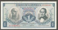 Colombia 1 Peso 12.10.1959; AU; P-404a; Condor; Waterfall; Mountain
