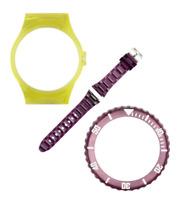 VIBE Large Trans Yellow Case, Transparent Aubergine Strap & Bezel [PACK L114]