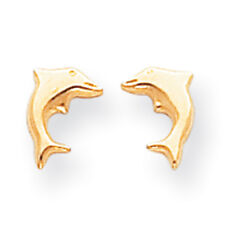 14K Yellow Gold Open Back Dolphin Stud Earrings Push Back Madi K Child's Jewelry