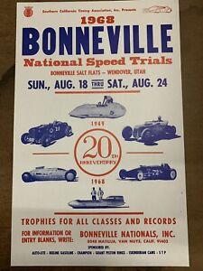 1968 Bonneville Speed Trials 20th Anniversary Bellytank Roadster Vintage Poster