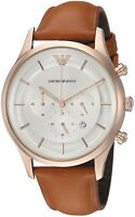 Emporio Armani Lambda Concave Dial Brown Leather Strap Men's Watch AR11043 New