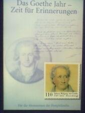 Briefmarke Zum 250. Geburtstag J.W.v.Goethe  Erstausgabe 12.8.1999