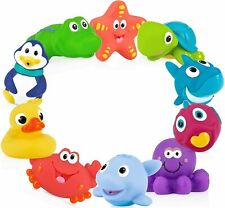 Baby Bath Toy Set Assorted Animals 10 Pc Water Squirter Squeeze Soft Rubber Safe