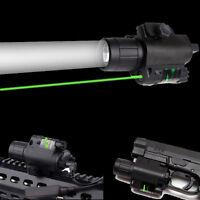 Tactical LED Flashlight &Green Laser Sight 20mm Rail For Rifle Pistol gun