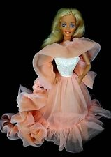 Barbie 1980s Doll  Fashion Clothes Gown Dress CHIFFON PEACH GOWN WITH LONG DRAPE