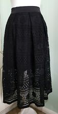 OH MY LONDON BLACK LACE TULLE MIDI SKIRT CHIC CASUAL PARTY BOHO UK 8