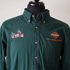 Harley Davidson Credit Embroidered Button Front Long Sleeve Shirt Size M Green