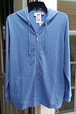 QUACKER FACTORY BLUE BONNET RHINESTONE FRENCH TERRY ZIP FRONT HOODIE ~ S