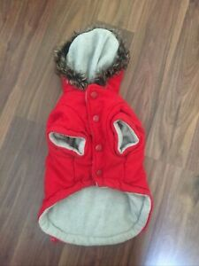 "Pet London Designer Red Dog Coat Size Medium 11"" to base of neck to tail"